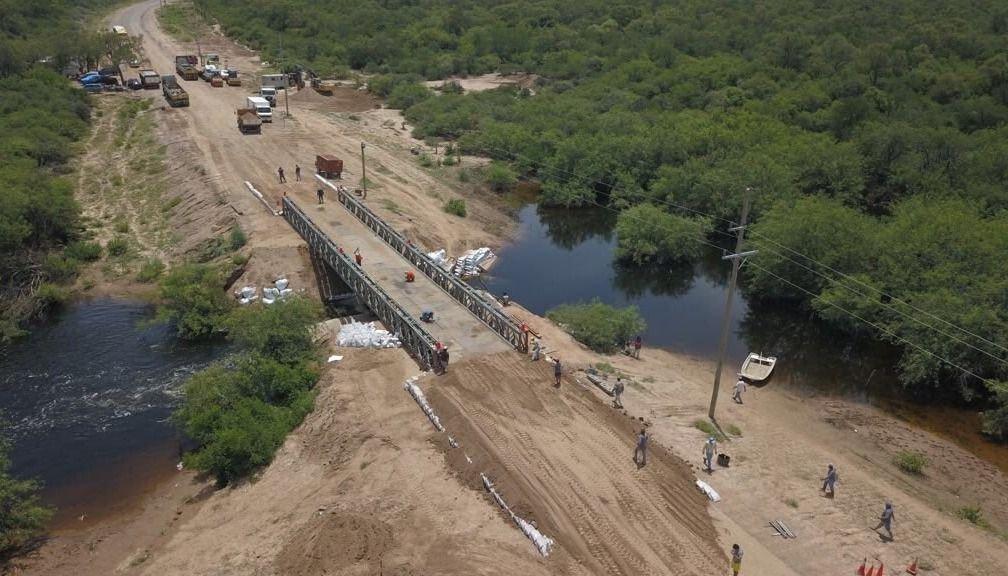 Habilitaron el puente Bailey sobre la ruta 13 cerca de Rivadavia