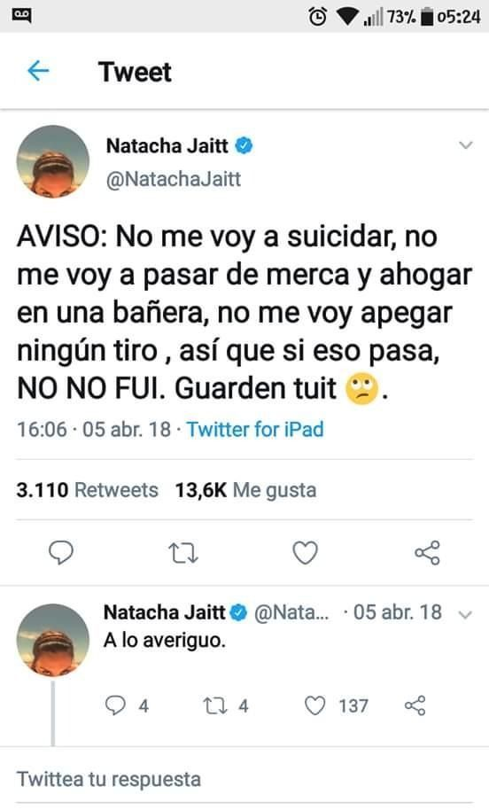 El sugestivo tweet de Natacha Jaitt pidió que
