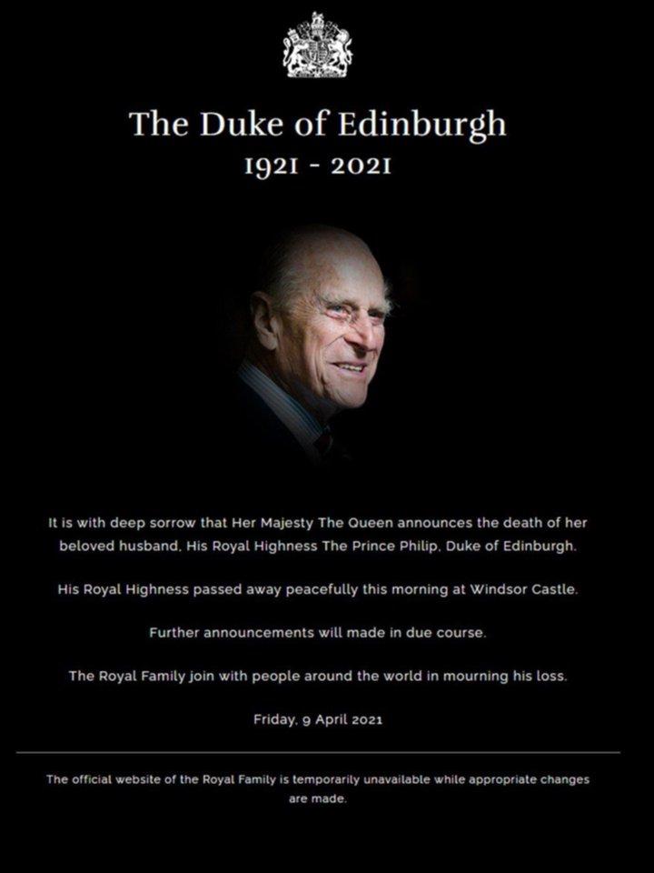 Así se comunicó en redes sociales la muerte del príncipe Felipe de Edimgurgo