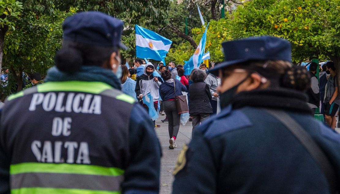 La protesta en el centro de la ciudad. Pablo Yapura