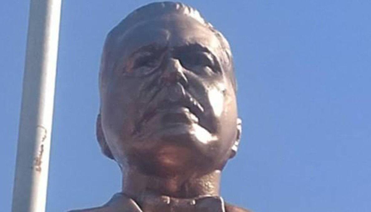 Quedó restaurado el  busto de Yrigoyen, roto por vándalos