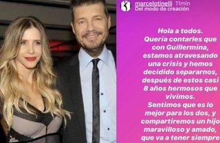 Se separaron Marcelo Tinelli y Guillermina Valdés
