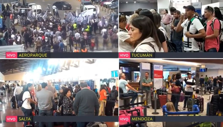 Aeropuertos argentinos: 60 vuelos cancelados y más de 7000 pasajeros afectados