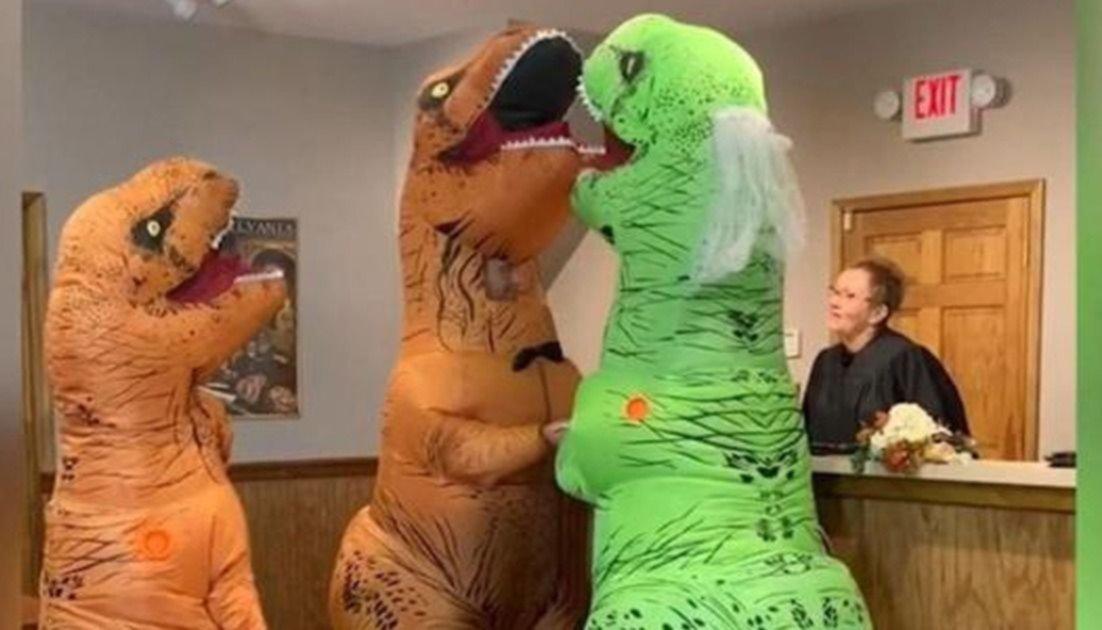Furor En Las Redes Por Enamorados Que Se Casaron Vestidos De Dinosaurios Esta teoría propone que los dinosaurios carnívoros se comieron a todos los herbívoros, extinguiéndolos y luego murieron de hambre. se casaron vestidos de dinosaurios