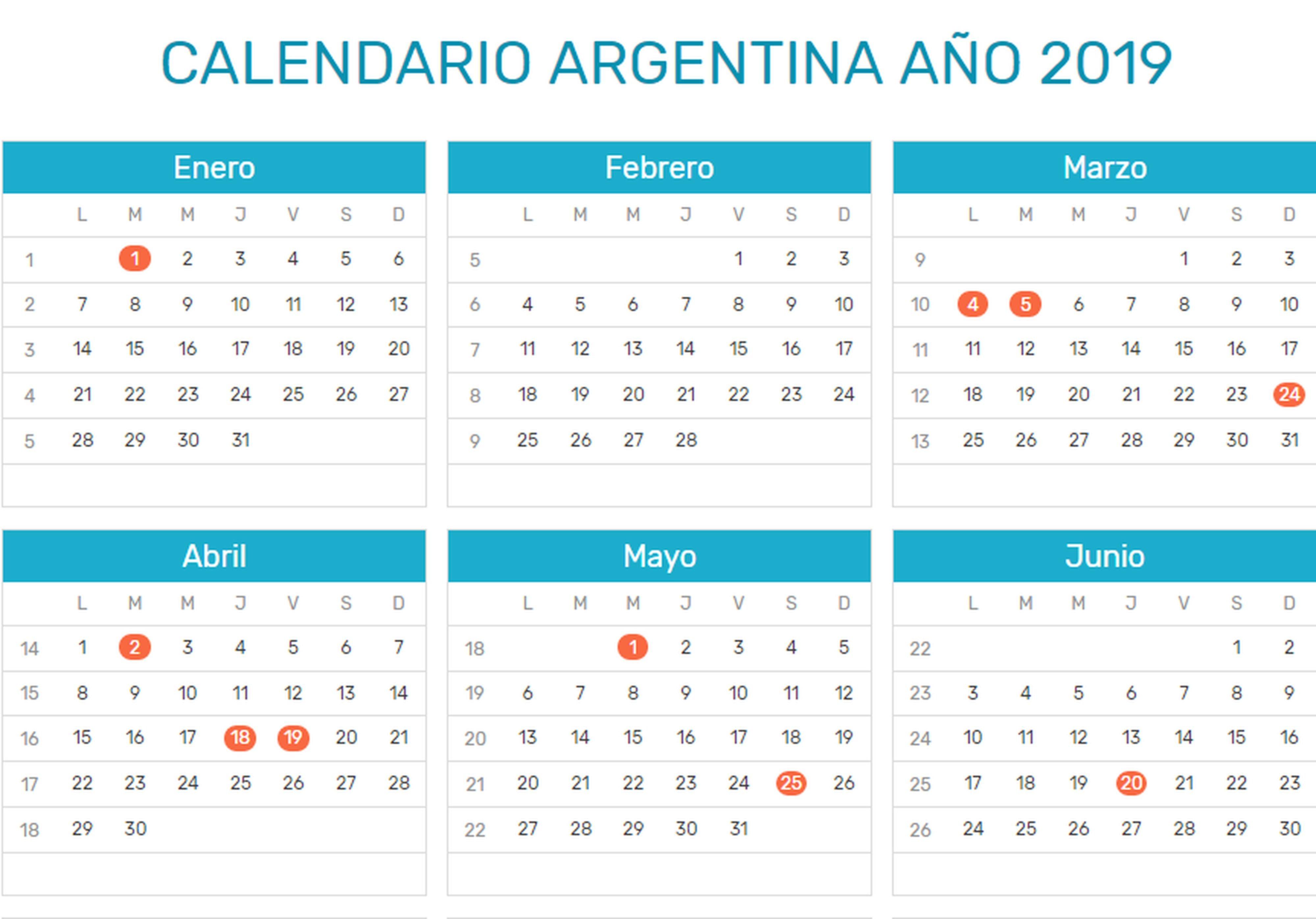 Calendario Agosto 2019 Con Feriados.Para Agendar El 2019 Tendra 19 Feriados Y Tres De Ellos